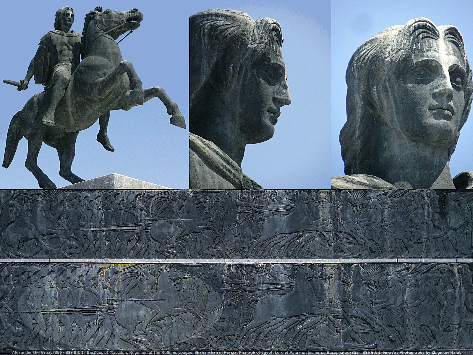 Alexander the Great (356 - 323 B.C.) - Basileus of Macedon, Hegemon of the Hellenic League, Shahanshah of Persia, Pharaoh of Egypt, Lord of Asia - on his horse Bucephalus (355 – 326 B.C.). Fine Art Photography by Zbigniew Halat. Alexander succeeded his father to the throne at the age of twenty and created one of the largest empires of the ancient world by the age of thirty, stretching from Greece to northwestern India. He was undefeated in battle and is widely considered one of history's most successful military commanders.