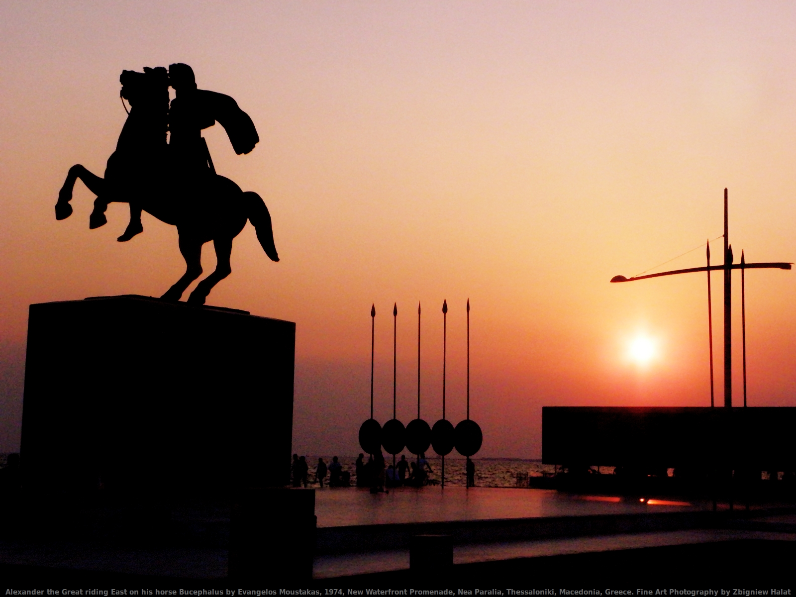 Alexander the Great riding East on his horse Bucephalus by Evangelos Moustakas, 1974, New Waterfront Promenade, Nea Paralia, Thessaloniki, Macedonia, Greece. Fine Art Photography by Zbigniew Halat
