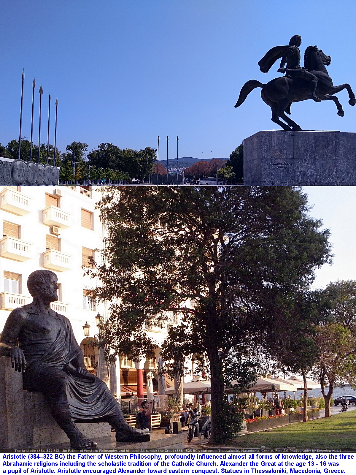 The Aristotle (384–322 B.C.), the Father of Western Philosophy, and his pupil Alexander the Great (356 - 323 B.C.), statues in Thessaloniki, Macedonia, Greece. Fine Art Photography by Zbigniew Halat
