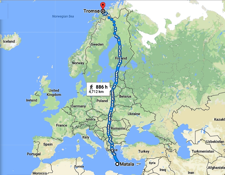 Catholic Culture fundamental to European Civilization, northwords from Matala, Crete, Greece to Tromso, Norway, by foot and ferries 4,712 kms, 886 hours (37 days and nights nonstop walk)