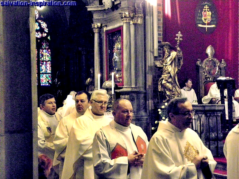 Catholic priests renew their vows at annual Chrism Mass 2015.  The Rev. prelate dr Czeslaw Majda (white-haired), the parish priest of St Maximilian Kolbe church,  Wroclaw, Silesia, Poland