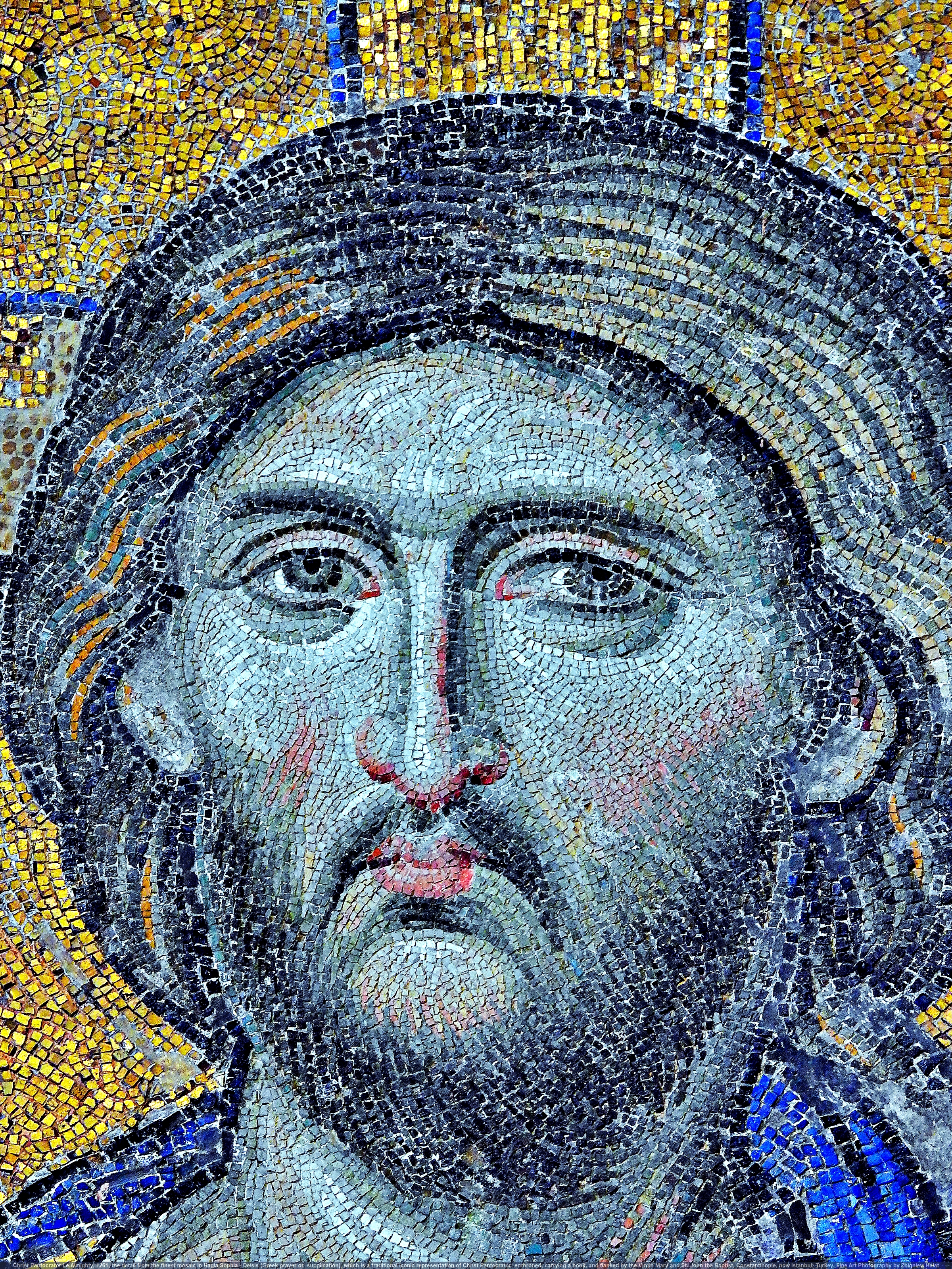 "Christ Pantocrator (Greek: Χριστὸς Παντοκράτωρ) Christ Almighty, 1261, the detail from the finest mosaic in Hagia Sophia - Deësis or Deisis (Greek: δέησις, ""prayer"" or ""supplication""), which is a traditional iconic representation of Christ Pantocrator: enthroned, carrying a book, and flanked by the Virgin Mary and St. John the Baptist, Constantinople, now Istanbul, Turkey. Fine Art Photography by Zbigniew Halat"