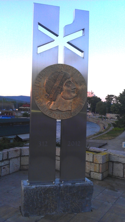 Monument of Constantine the Great in center of Nis, Serbia