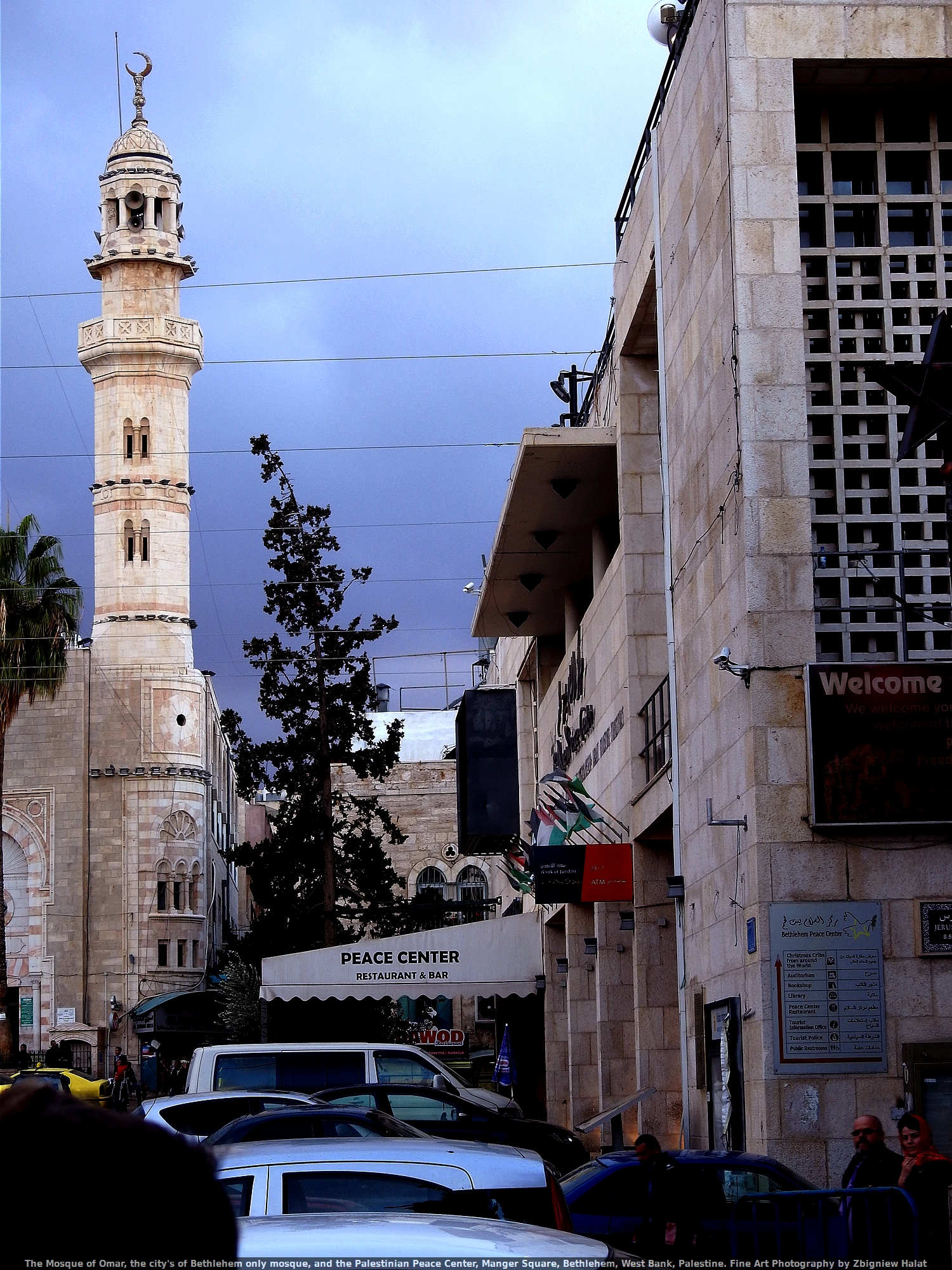 The Mosque of Omar, the city's of Bethlehem only mosque, and the Palestinian Peace Center, Manger Square, Bethlehem, West Bank, Palestine. Fine Art Photography by Zbigniew Halat