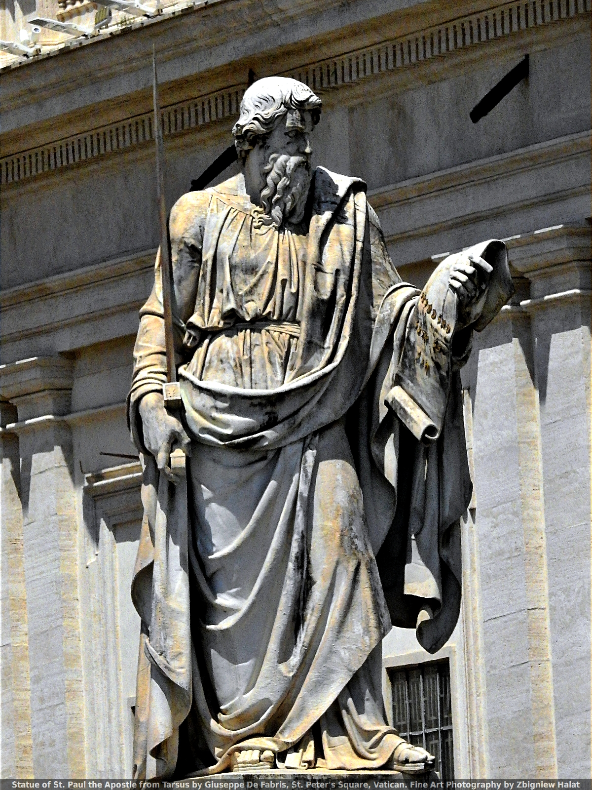 Statue of St. Paul the Apostle from Tarsus by Giuseppe De Fabris, St. Peter's Square, Vatican. Fine Art Photography by Zbigniew Halat