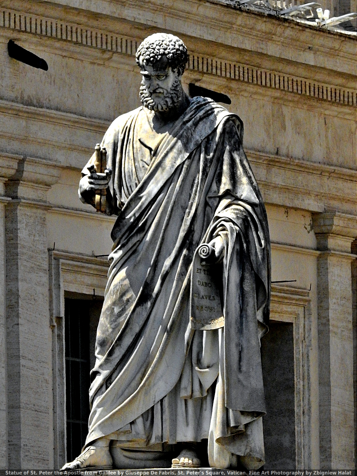 Statue of St. Peter the Apostle from Galilee by Giuseppe De Fabris, St. Peter's Square, Vatican. Fine Art Photography by Zbigniew Halat