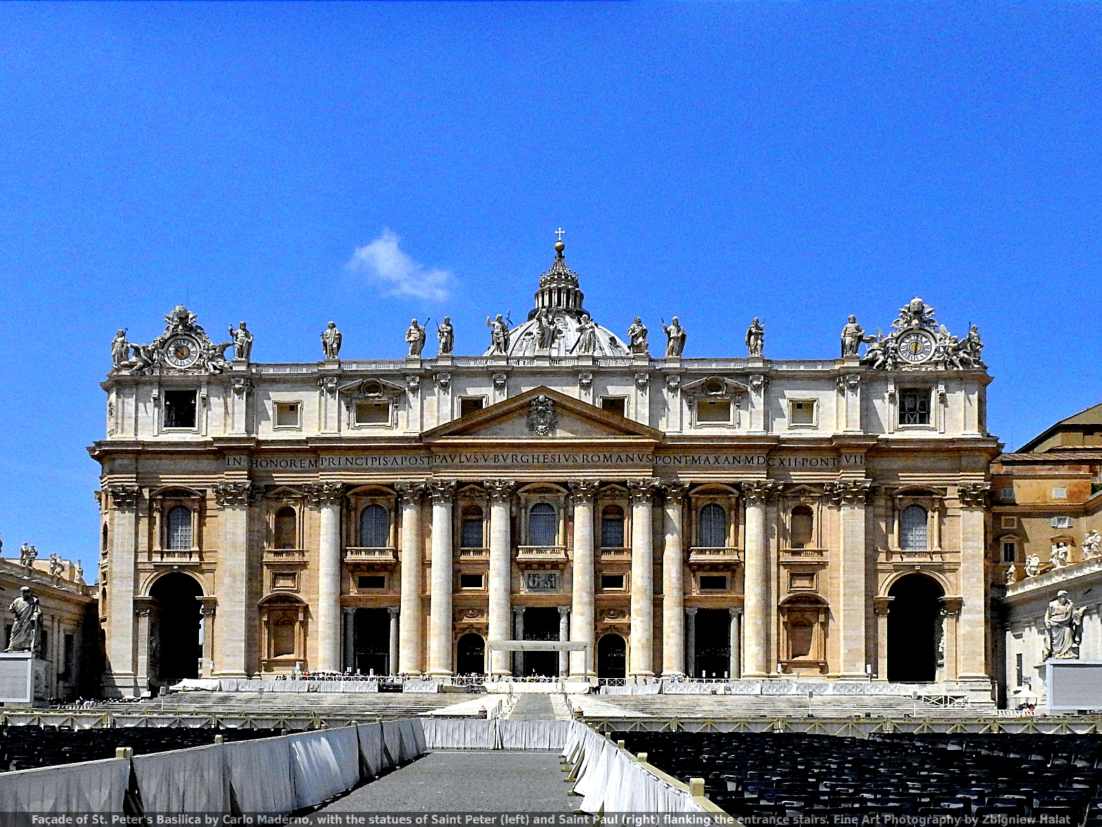 Façade of St. Peter's Basilica by Carlo Maderno, with the statues of Saint Peter (left) and Saint Paul (right) flanking the entrance stairs. Fine Art Photography by Zbigniew Halat