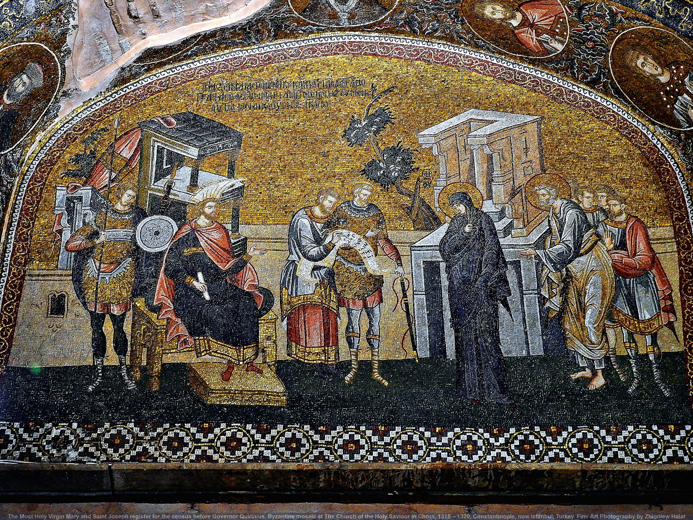The Most Holy Virgin Mary and Saint Joseph register for the census before Governor Quirinius. Byzantine mosaic at The Church of the Holy Saviour in Chora (Greek: Ἐκκλησία τοῦ Ἁγίου Σωτῆρος ἐν τῇ Χώρᾳ; Turkish: Kariye Müzesi, Kariye Camii, Kariye Kilisesi), Constantinople 1315–20, now Istanbul, Turkey. Fine Art Photography by Zbigniew Halat