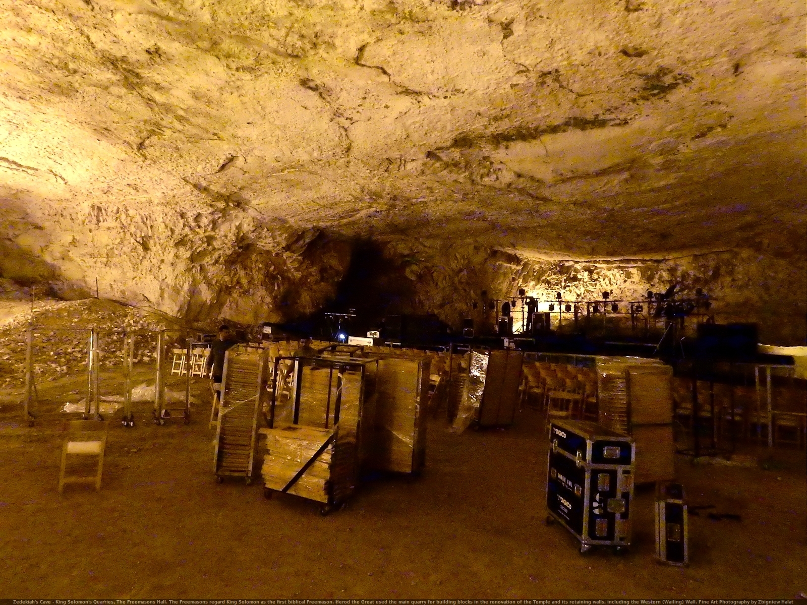 Zedekiah's Cave - King Solomon's Quarries, The Freemasons Hall. Herod the Great used the main quarry for building blocks in the renovation of the Temple and its retaining walls, including the Western (Wailing) Wall.Fine Art Photography by Zbigniew Halat