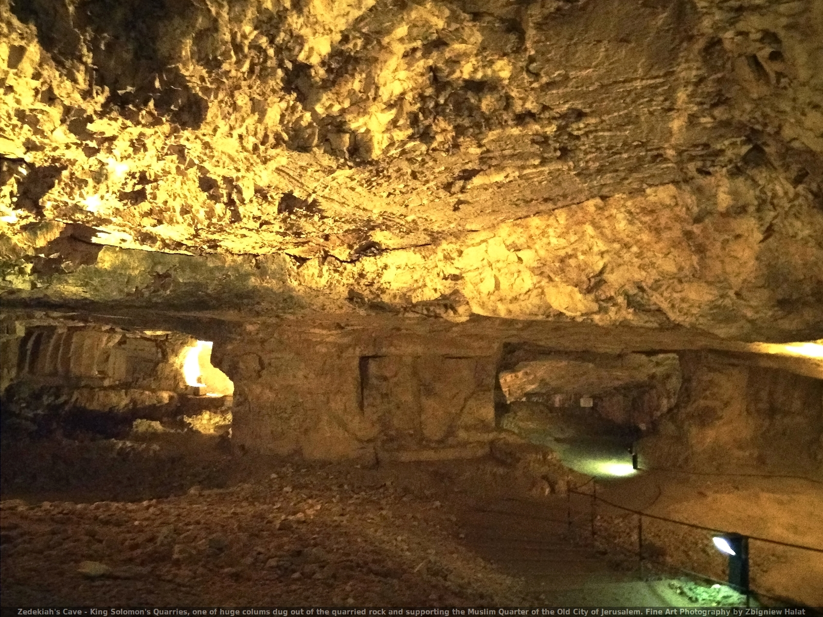 Zedekiah's Cave - King Solomon's Quarries, one of huge colums dug out of the quarried rock supporting the Muslim Quarter of the Old City of Jerusalem. Fine Art Photography by Zbigniew Halat