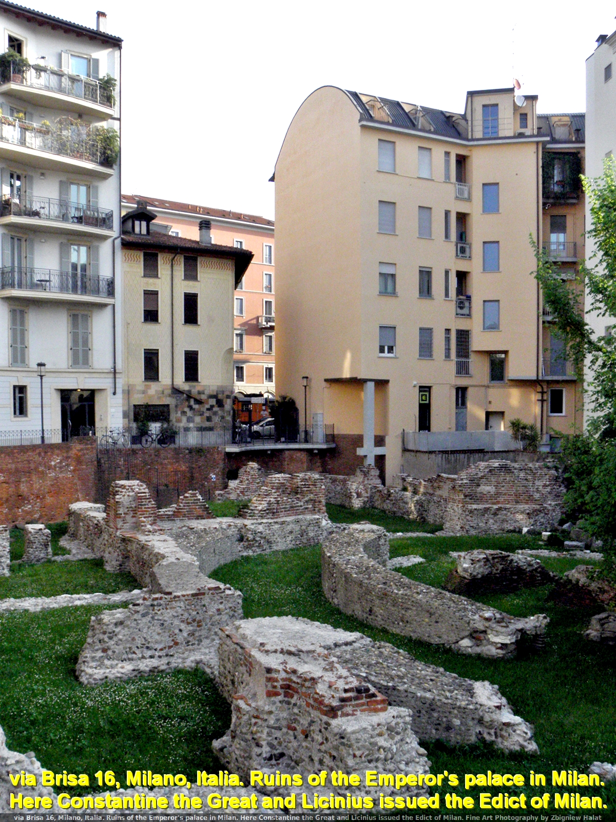 via Brisa 16, Milano, Italia. Ruins of the Emperor's palace in Milan. Here Constantine the Great and Licinius issued the Edict of Milan (EDICTUM MEDIOLANENSE). Fine Art Photography by Zbigniew Halat