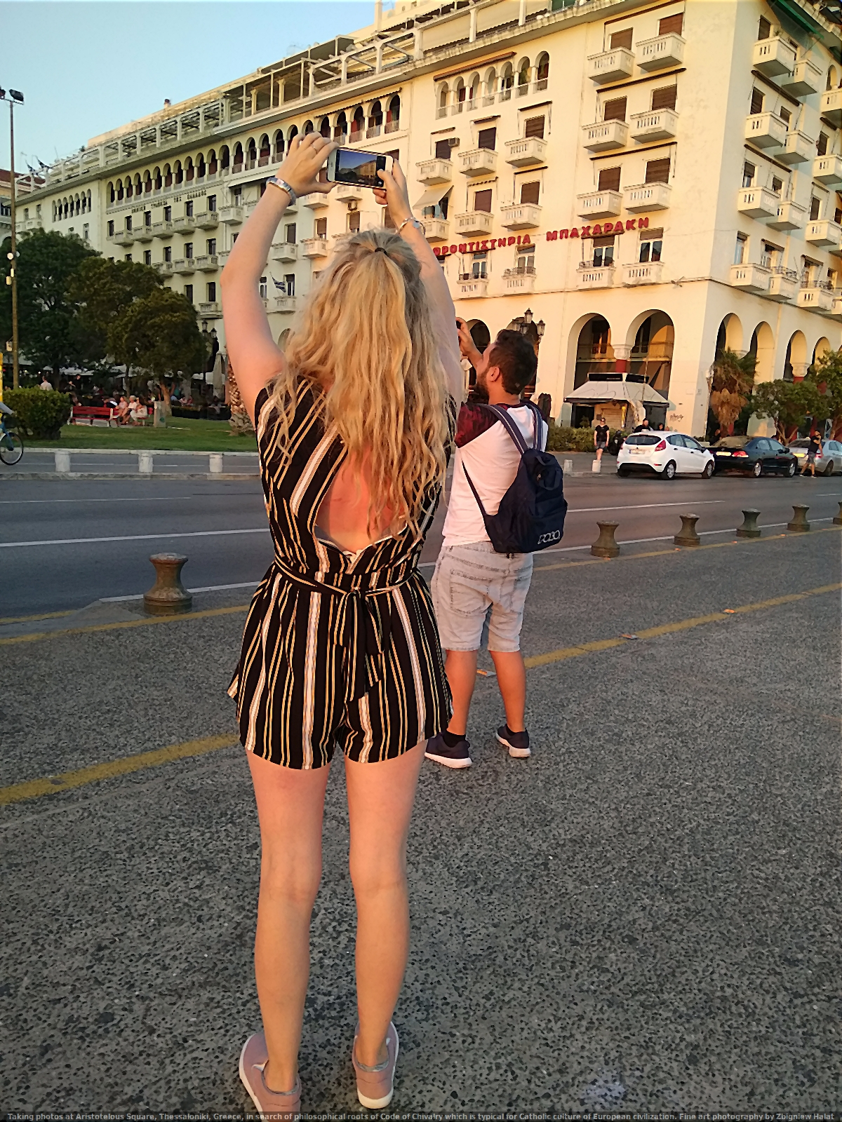 Taking photos at Aristotelous Square, Thessaloniki, Greece, in search of philosophical roots of Code of Chivalry which is typical for Catholic culture of European civilization. Fine art photography by Zbigniew Halat